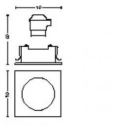 Foco Empotrable Philips Donegal Cuadrado Níquel Satinado GU10 - Imagen 2