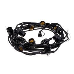 [AM-BT500] Cadena Luminosa - IP65 -Negro - 10xE27 - Cable - Enchufe - 12,5M