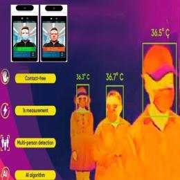 Módulo de control de Acceso con Reconocimiento facial y Medición de Temperatura Goodview para suelo - Imagen 2