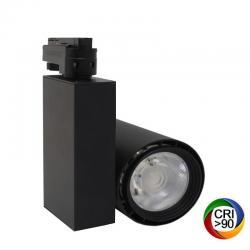 Foco LED 40W BERLIN Negro Carril Monofásico CRI +90