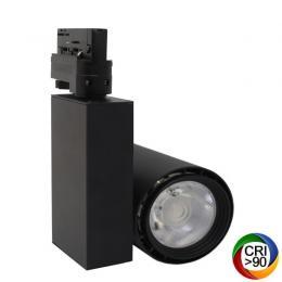 Foco LED 40W BERLIN Negro Carril Trifásico CRI +90 - Imagen 2