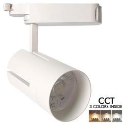 Foco LED 30W VIENA Blanco Carril Monofásico CRI +85 CCT