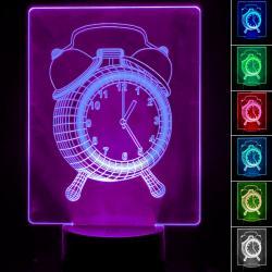Lámpara de Mesa 3D RGB - RELOJ - - Imagen 1