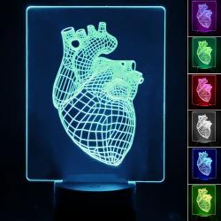 Lámpara de Mesa 3D RGB - HEART - - Imagen 1