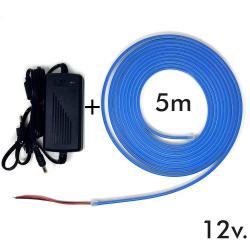 Pack Tira Neón Azul LED 6mm 12V + Fuente de Alimentación