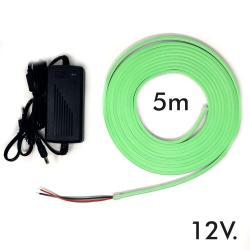 Pack Tira Neón Verde LED 6mm 12V + Fuente de Alimentación