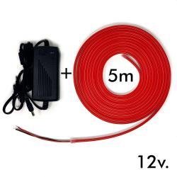 Pack Tira Neón Rojo LED 6mm 12V + Fuente de Alimentación
