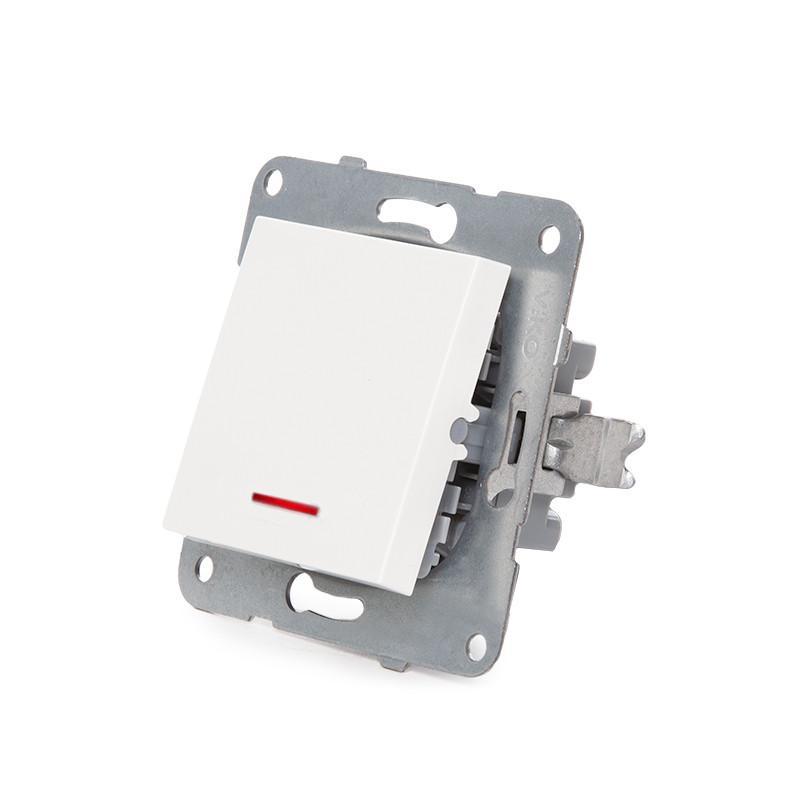 Pulsador Luminoso Panasonic Karre 10A 250V Bastidor Metálico con Garras/ Tecla Blanca/LED Rojo - Imagen 4