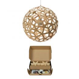 """Kit Lámpara Colgante """"Coral"""" Ø400mm E14 Bambú Laminado [DTR-CORAL-400-N] - Imagen 2"""