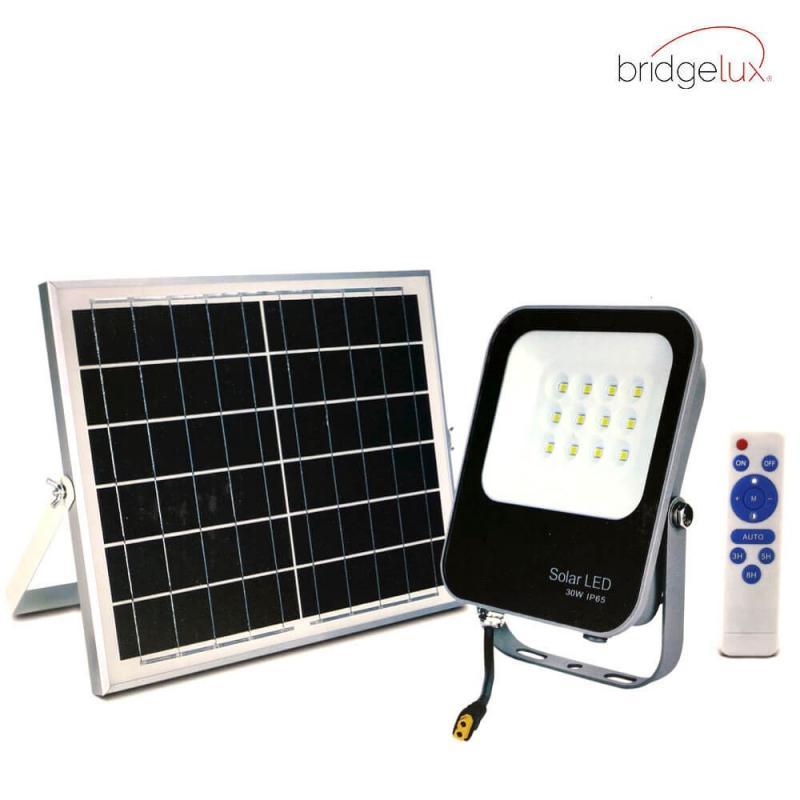Foco Proyector Exterior SOLAR LED 30W Avance - BRIDGELUX - Imagen 1