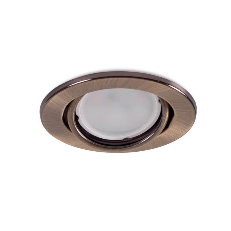 "Aro Foco Downlight Circular Basculante ""Vepa"" Acero 90mm - Latonado - Imagen 1"