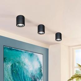 Aplique Techo LED Negro Aluminio - Doble Aro - para GU10 LED - Imagen 2