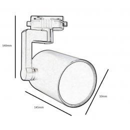 Foco de Carril BLANCO para Lámpara E27 - Imagen 2