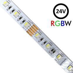 Tira LED 24V RGBW | 60xLED/m | 5m | SMD5050 | 560Lm | 13W/M | IP20