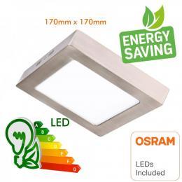 Plafón LED 15W Cuadrado Acero Inox - CCT - OSRAM CHIP DURIS E 2835 - Imagen 2