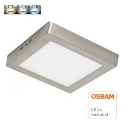 Plafón LED 20W Cuadrado Acero Inox - CCT - OSRAM CHIP DURIS E 2835