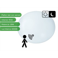 Plafón LED 18 W 6000K con detector de movimiento microondas
