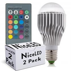 PACK LÁMPARAS Led RGB 10W E27 ESFERICA CON MANDO A DISTANCIA