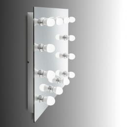 """Espejo de Baño """"Hollywood"""" con 12 Bombiilas LED 24VDC. Botón de Intensidad. Montaje Pared. Acero PIntado Blanco. - Imagen 2"""