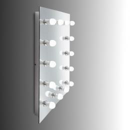 """Espejo de Baño """"Hollywood"""" con 14 Bombiilas LED 24VDC. Botón de Intensidad. Montaje Pared. Acero PIntado Blanco. - Imagen 2"""