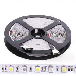 Tira LED 5M 300 LEDs 60W SMD5050 24VDC IP20 RGB+Blanco