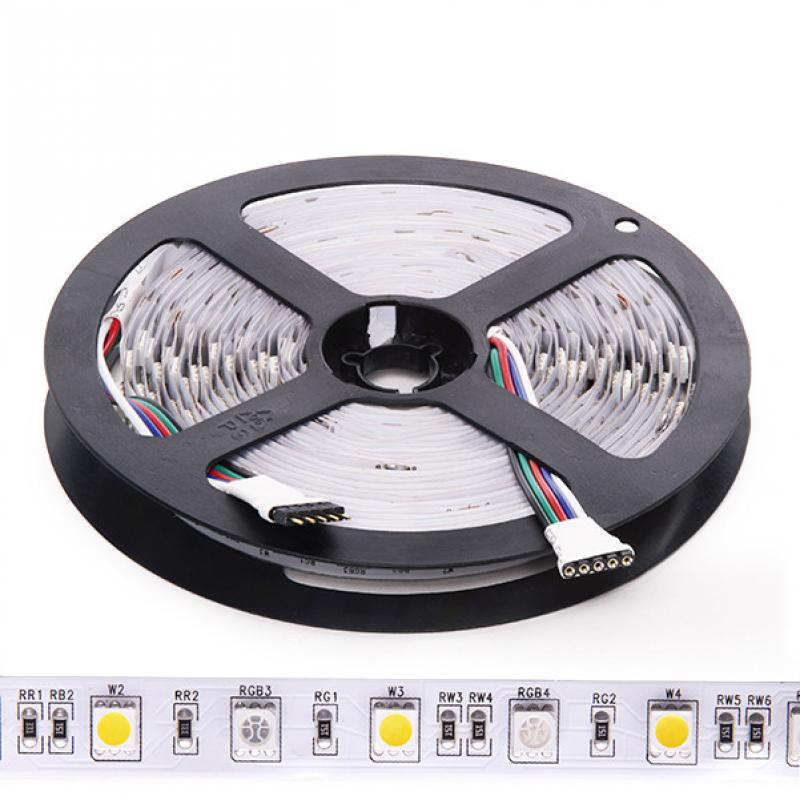 Tira de 5 Metros 300 LEDs 60W SMD5050 24VDC IP20 RGB+Blanco Cálido - Imagen 1