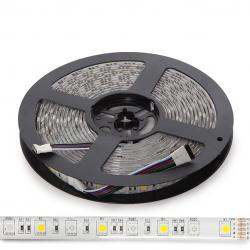 Tira LED 5M 300 LEDs 60W SMD5050 24VDC IP65 RGB+Blanco