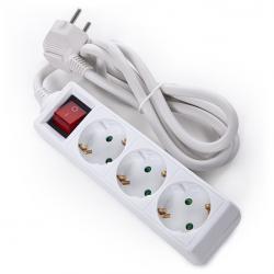 Regleta Multiple - 3 Tomas SCHUKO - Protección Infantil - Cable 3G 1,5mm2  1,5M - Interruptor - Imagen 1