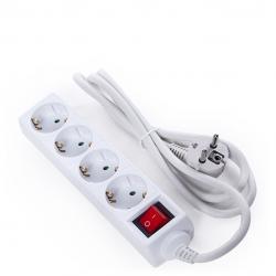 Regleta Multiple - 4 Tomas SCHUKO - Protección Infantil - Cable 3G 1,5mm2  1,5M - Interruptor - Imagen 1