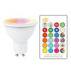 Dicroica LED GU10 5W RGB+W con Mando a Distancia