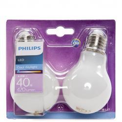 Bombilla LED Philips E27 A60 4,5W 470Lm Blanco Frío (2 Unidades) - Imagen 1
