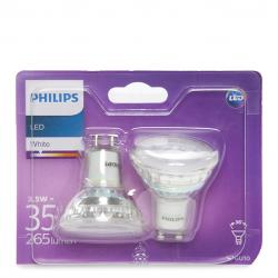 Bombilla LED Philips GU10 36D 3,5W 255Lm Blanco Natural (2 Unidades)