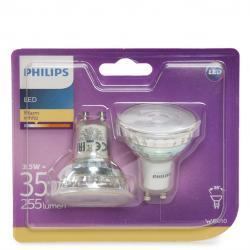 Bombilla LED Philips Gu10 36D 3,5W 255Lm Blanco Cálido (2 Unidades) - Imagen 1