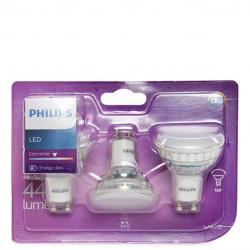 Bombilla LED Philips GU10 36D 3,5W 255Lm Blanco Natural (3 Unidades)