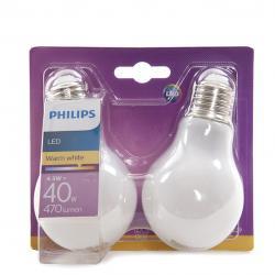 Bombilla LED Philips E27 A60 4,5W 470Lm Blanco Cálido (2 Unidades) - Imagen 1