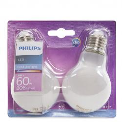 Bombilla LED Philips E27 A60 7W 806Lm Blanco Frío (2 Unidades) - Imagen 1