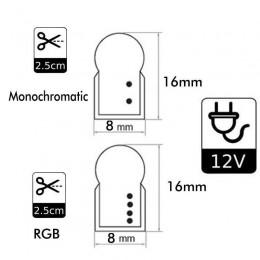 Neón LED 8W Flexible 12V Bobina 25m 8mm RGB