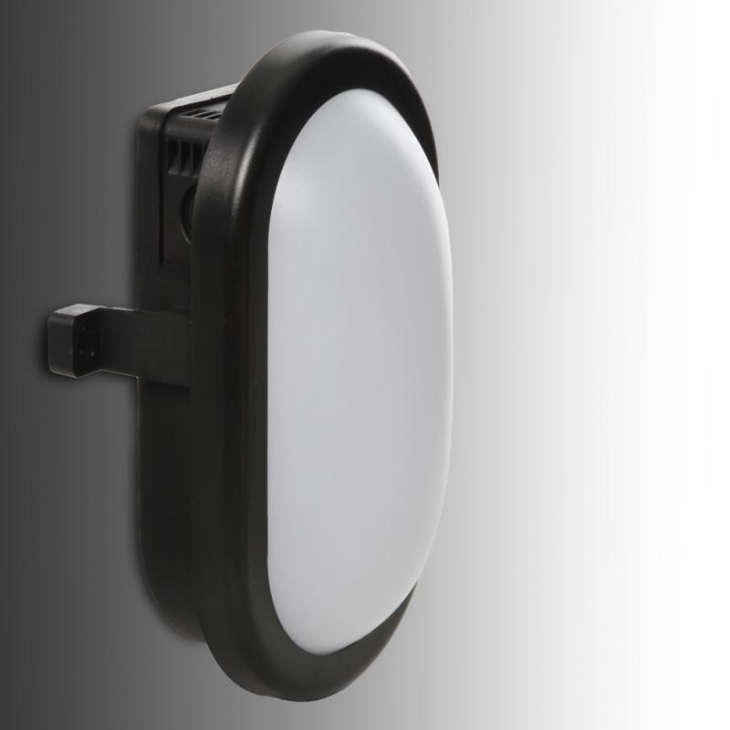 Aplique LED IP54 10W 700Lm 40000H Oval Negro - Imagen 1