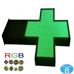 Banderola Electrónica LED Cruz de Farmacia RGB Full Color Pixel 8