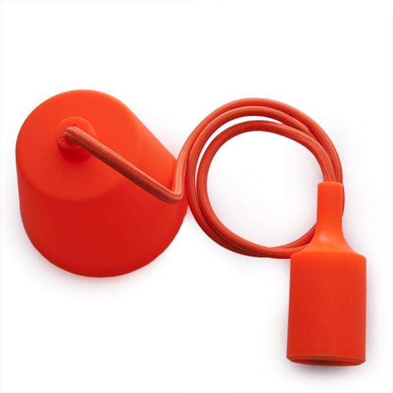 Portalámparas E27 Cable - Rosetón Naranja - Imagen 1