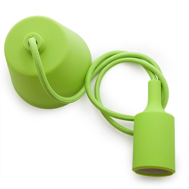 Portalámparas E27 Cable - Rosetón - Color Verde - Imagen 1