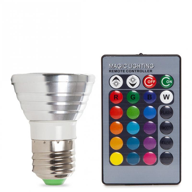 Bombilla Led RGB 3W E27 Mando a Distancia - Imagen 1