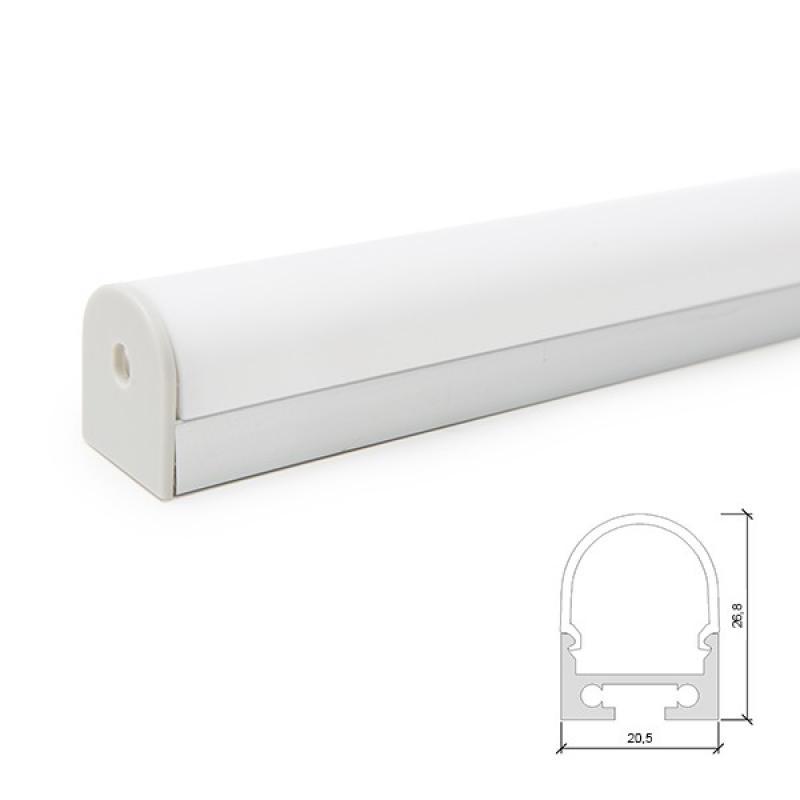Perfíl Aluminio Curvado para Tira LED Techo/Colgante Difusor Opal 2M - Imagen 1
