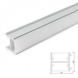 Perfíl de Aluminio para LEDS Iluminación Espejos  y Cuadros  con Difusor Opal - Tira de 1 Metro