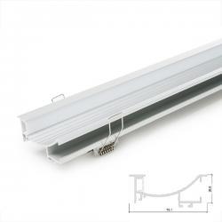 Perfíl Aluminio para Tira LED Instalación Escaleras - Difusor Opal -Tira 1M