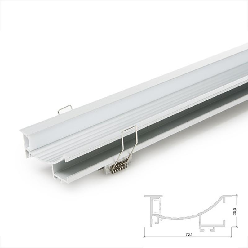 Perfíl Aluminio para Tira LED Instalación Escaleras - Difusor Opal -Tira 1M - Imagen 1