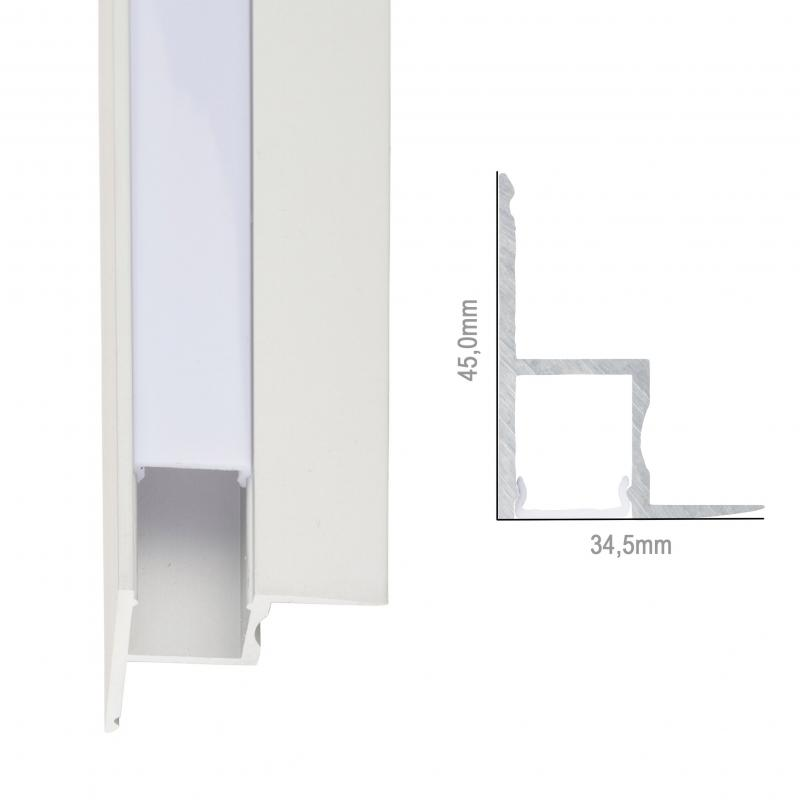 Perfíl Aluminio para Tira LED Instalación Techos Difusor Opal 1M - Imagen 1