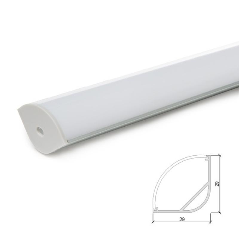 Perfíl Aluminio para Tira LED Instalación Esquinas - Difusor Opal 1M - Imagen 1