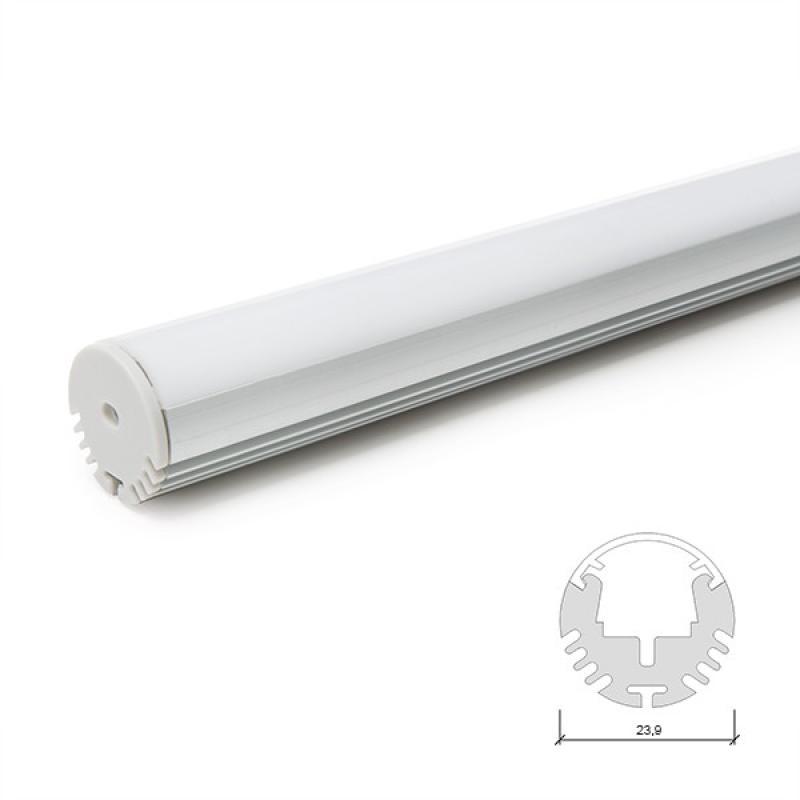 Perfíl Aluminio para Tira LED Barra/Armario - Difusor Opal 2M - Imagen 1