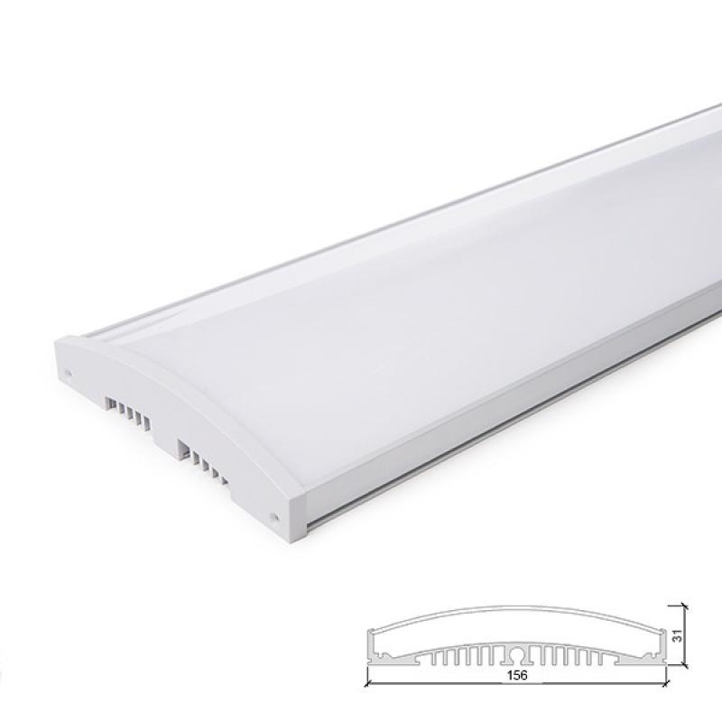 Perfíl/Luminaria Aluminio 10 X Tira LED - Difusor Opal -Tira 1 M - Imagen 1